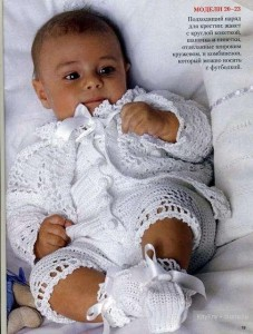вязаный комбинезон для младенца