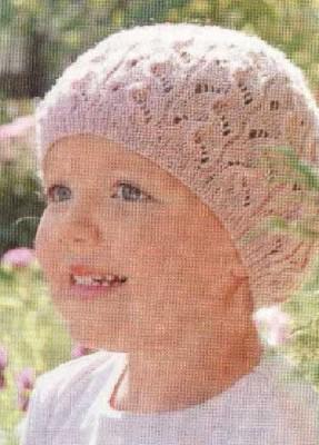 Детское вязание модели спицами шапки.