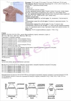 Схема вязания свитера для мальчика