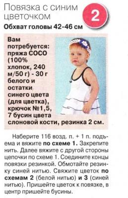 Детская вязаная повязка на голову