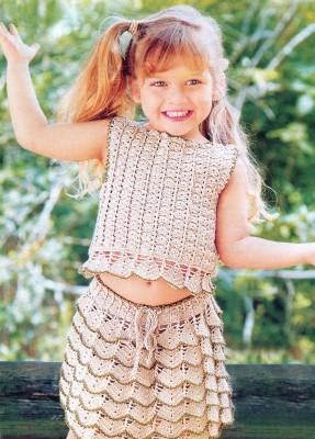 Симпатичные юбка и топ крючком