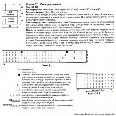 Схема жилета спицами