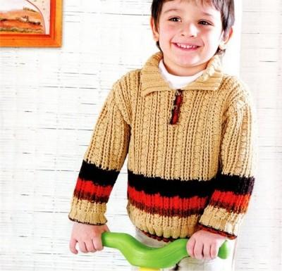 Детский пуловер спицами и крючком