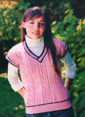 Вязаный жилет для девочки 12 лет