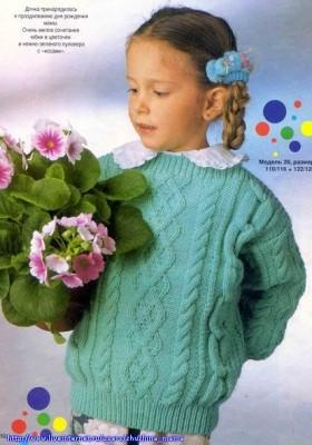 Детский пуловер с интересным узором