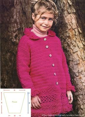Детское пальто крючком.