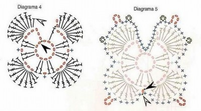 Схема вязания бабочек крючком