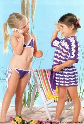 детский вязаный купальник и туника