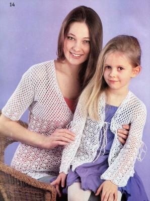 Вяжем ажурные кофточки для мамы и для дочки