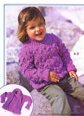 Комплект из пуловера и шарфа для девочки
