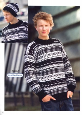 Жаккардовый свитер для подростка и шапочка
