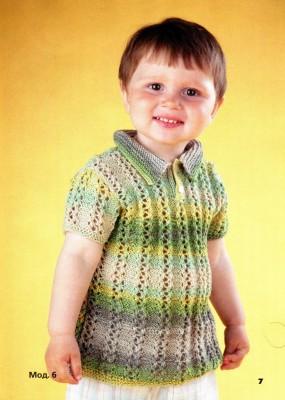 Ажурный пуловер спицами для мальчика