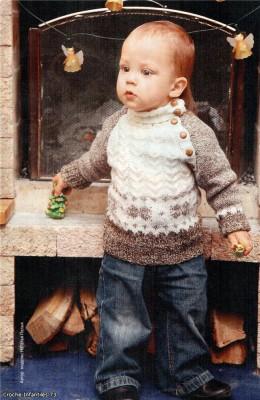 Детский теплый пуловер спицами