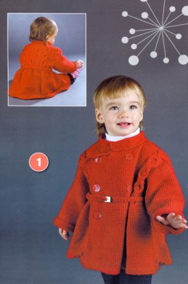 Вязаное красное пальто